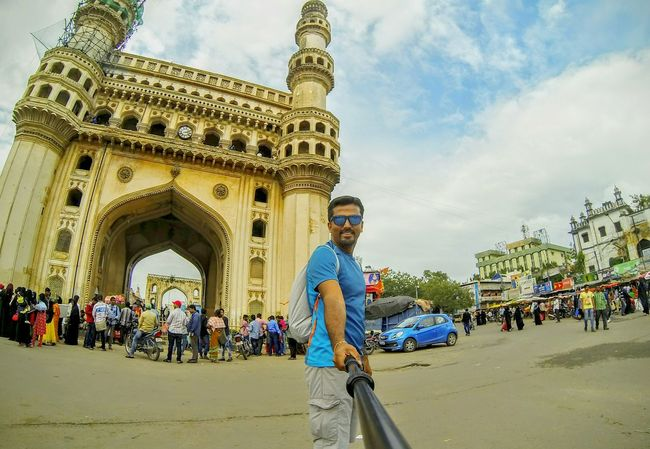 My Year My View Travel Destinations City Outdoors Arts Culture And Entertainment Tourism Tourist One Man Only One Person Young Adult Architecture City Life Gopro Goproselfie Open Edit OpenEdit EyeEm Best Shots Hyderabad India Charminar My Year My View The Traveler - 2018 EyeEm Awards The Street Photographer - 2018 EyeEm Awards