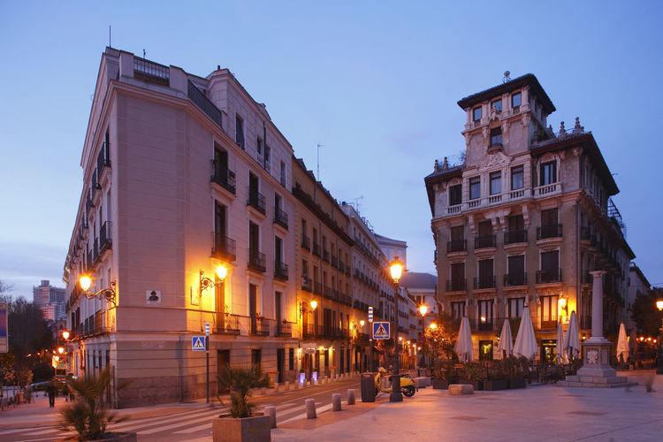 Houses at Plaza de Ramales at dusk, Madrid, spain Architecture City Cityscape Dusk Houses Illuminated Madrid Night No People Outdoors Plaza De Ramales Sky SPAIN