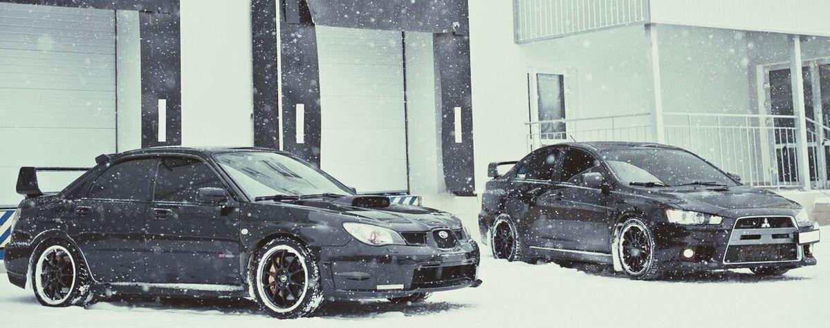 Beautiful ♥ Subaru WRX Sti Mitsubishi Lancer Snow ❄