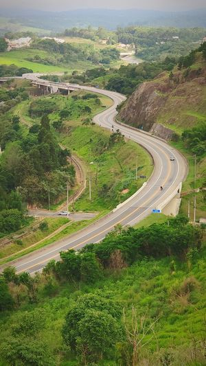 Winding Road Water Curve Road Mountain High Angle View Landscape Sky Grass