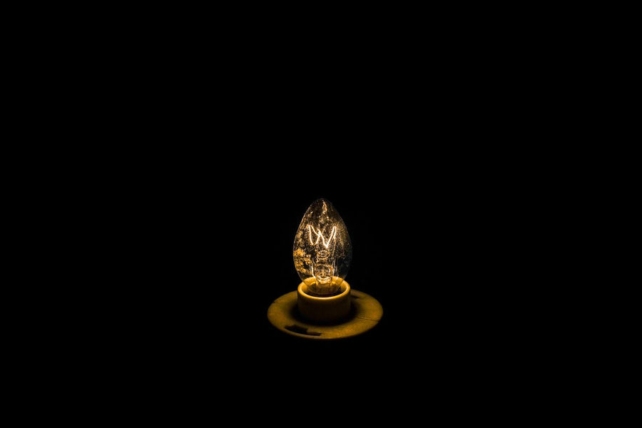 beautiful yellow old light bulb #Bright #colors #Electrical #line Dark Light Glass Old Dust Rust Bulb Black