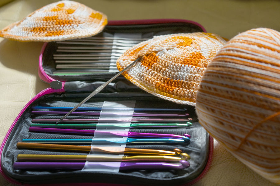 tools to crochet with colored skein to do a bikini Bikini Colored Crochet Crocheting Hand Hank Skein Stitch Tools Working