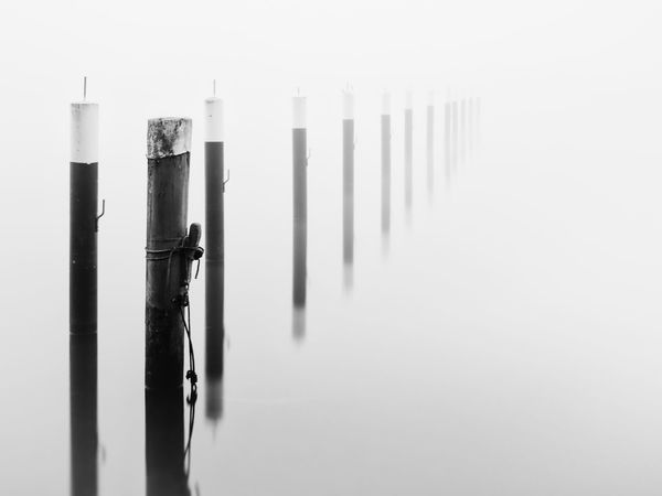 MOORING POST Black And White Close-up Day Fog Foggy Foggy Morning Harbor Infinity Kontrast Long Exposure Marina Mooring Mooring Post Mooring Rope Morning No People Outdoors Pole Sea Seascape EyeEmNewHere