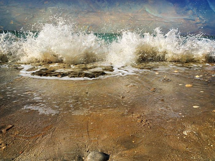 Water Nature No People Sky Day Land Beach Outdoors Beauty In Nature Motion Sea Wet Full Frame Tranquility Cold Temperature Sunlight Splashing Wave