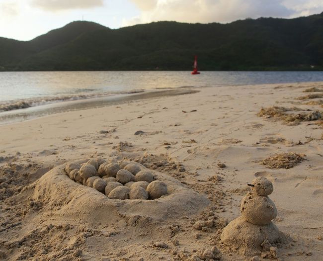 Close-Up Of Snowman Sand Sculpture On Beach