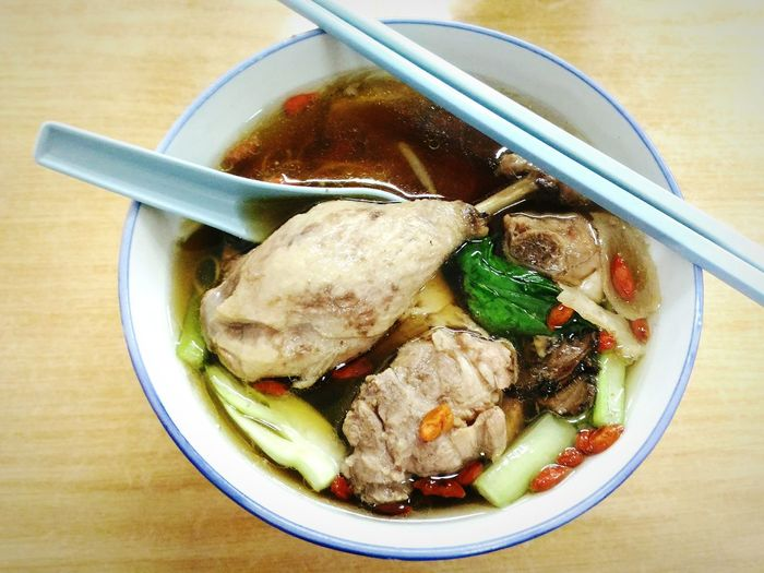 Drumstick Herbal Soup Duck Drumstick Noodles Penang Food Food And Drink High Angle View Ready-to-eat Chinese Food Chopsticks