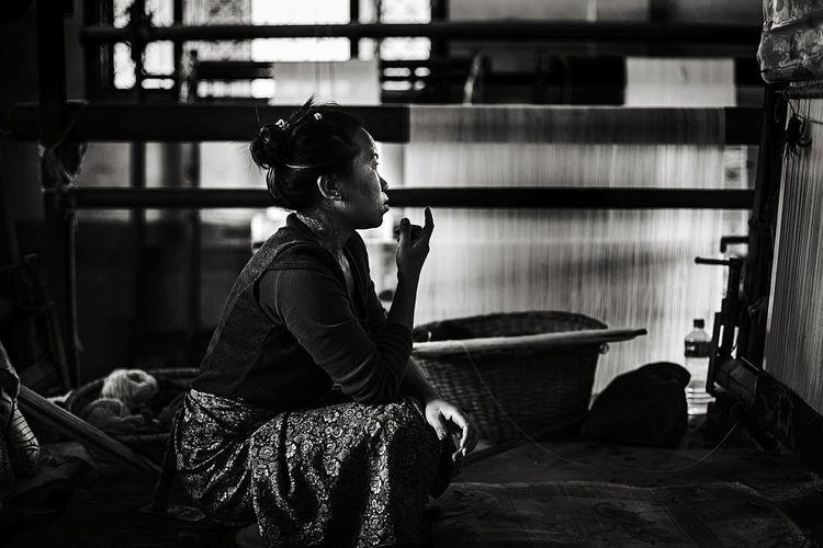 Tibetan  One Woman Only Old-fashioned Real People Handycraft Carpet Black And White EyEmNewHere EyeEm Gallery Kathmandu Nepal The Photojournalist - 2017 EyeEm Awards The Portraitist - 2017 EyeEm Awards