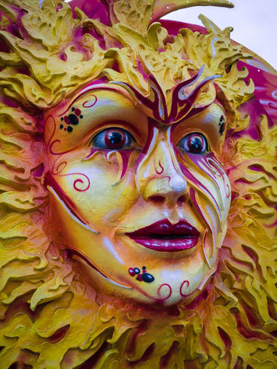Verona, Italy - January 14, 2018: Detail of a carnival mask depicting the sun. Artistic Beautiful Carnival Carnival Background Colorful Decorated Decoration Decorative Detailed Face Festival Gold Gold Mask Golden Italian Italy Mask Mask Carnival Masquerade Ray Sun Sun Mask Traditional Venetian Venice