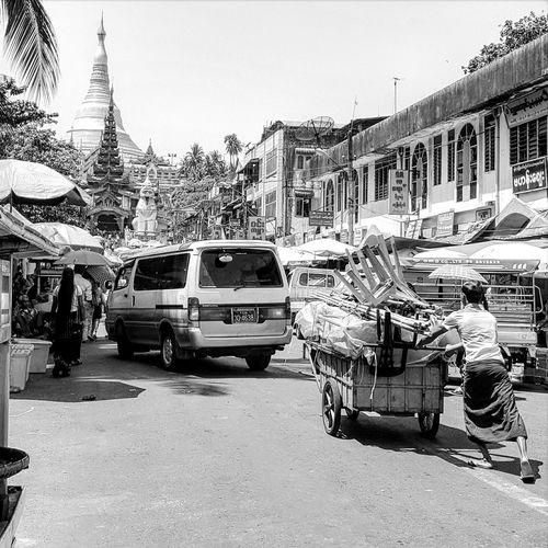 Mode Of Transport Transportation Street Land Vehicle City Outdoors Lifestyles Yangon Relaxation Photographer Tranquility Illuminated Shwedagonpadoga Place Of Worship Blackandwhite Photography Public Transportation Sky No People Day