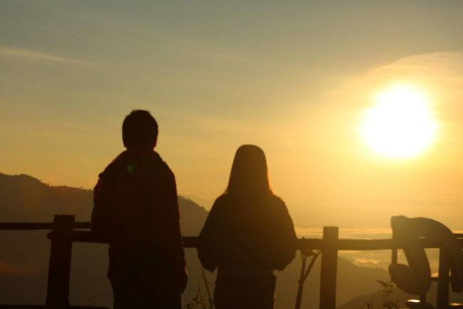 Sunset Silhouette Two People People Adult Rear View Adults Only