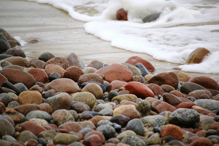 stone art Pebble Beach Water Sea Beach Wave Pebble Close-up Shore Coastline Sandy Beach Horizon Over Water Water's Edge Calm