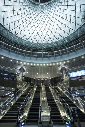 Architecture Built Structure City Day Escalator Fulton Center NYC Fulton Center Station Low Angle View Modern New York New York City Night No People Subway Train Station