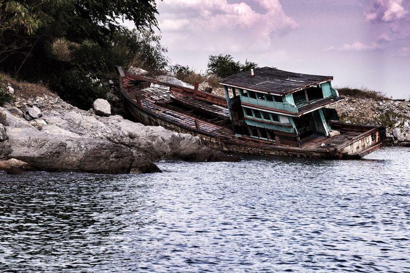 Shipwrecked, Koh Sichang, Thailand Nature Sea Thailand Beach Thailand Travel Thailand Shipwreck Beach Shipwrecked Water Nautical Vessel Mode Of Transportation Transportation Holiday Moments Ship
