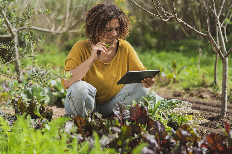 Full length of senior woman using phone while sitting on plants