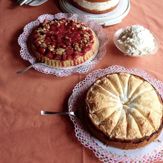 High angle view of desserts on table