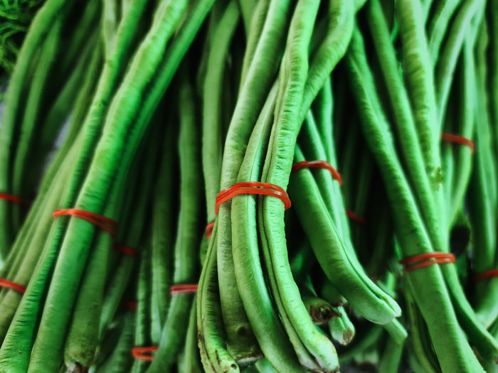 Full frame background of tied fresh green long pea
