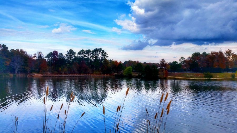 Peace and Quiet -- HDR Hdr_Collection Hdr Edit Sky Cloud - Sky Clouds And Sky Clouds Blue Sky Water Water_collection Water Reflections Reflection Nature Beauty In Nature EyeEm Nature Lover Lake Landscape Landscape_Collection Autumn Bridge Outdoors No People Tree Trees Day