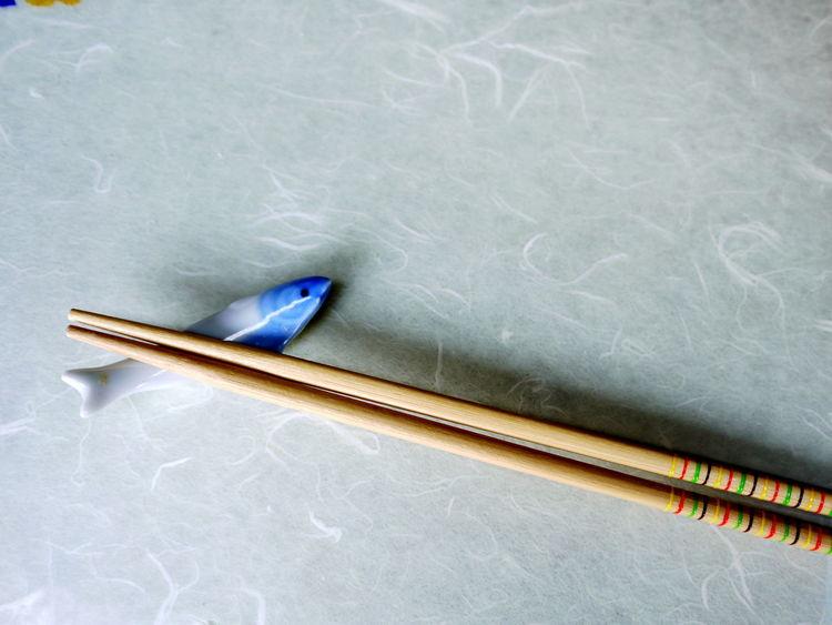 Blue Ceramics Chopstick Rest Chopsticks Close-up Eating Utensil Fish Japanese  No People Ohashi Still Life Table White