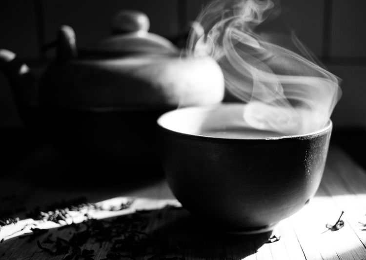 Morning summoning Indoors  Food And Drink Drink Heat - Temperature Focus On Foreground Cup Hot Drink Tea Healthy Eating Monochrome Sky Morning Herbal Tea Loose Leaf Tea Steam Autumn Mood Capture Tomorrow