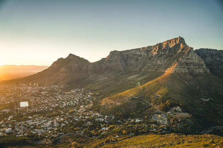 Table Mountain Cape Town Table Mountain Top Sunrise Morning Lights Peak Colors