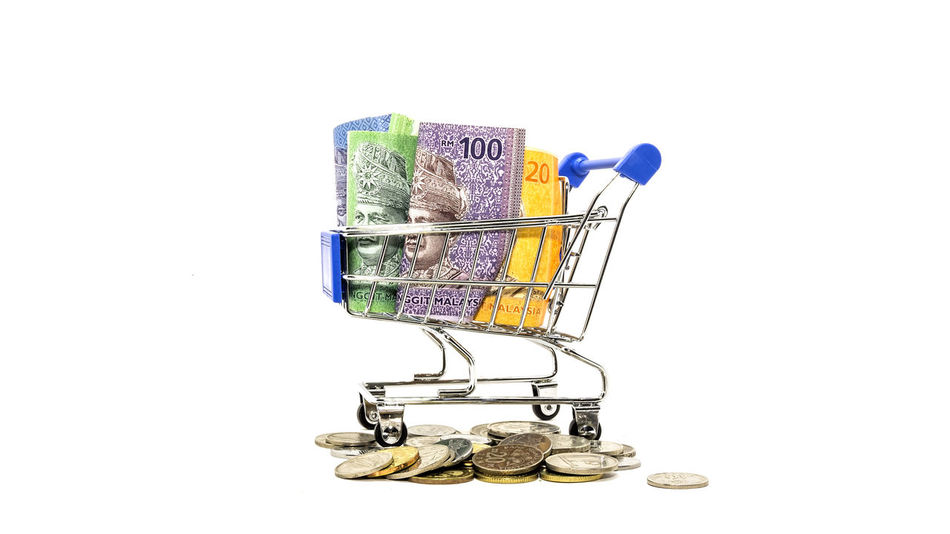 online shopping consept Ringgit Cashmoney  Coin Concept Less Money Onlineshop Shopping Time Supermarket Trolley
