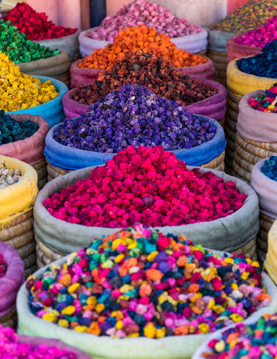 Various flowers in market stall