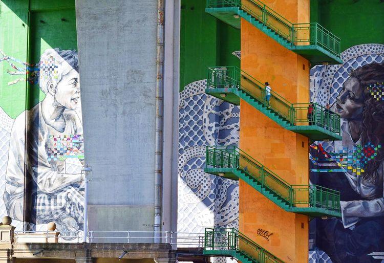 Urban art. Architecture Built Structure Building Exterior Day Outdoors Stairs Art Graffiti Urban City Bilbao Bridge One Person