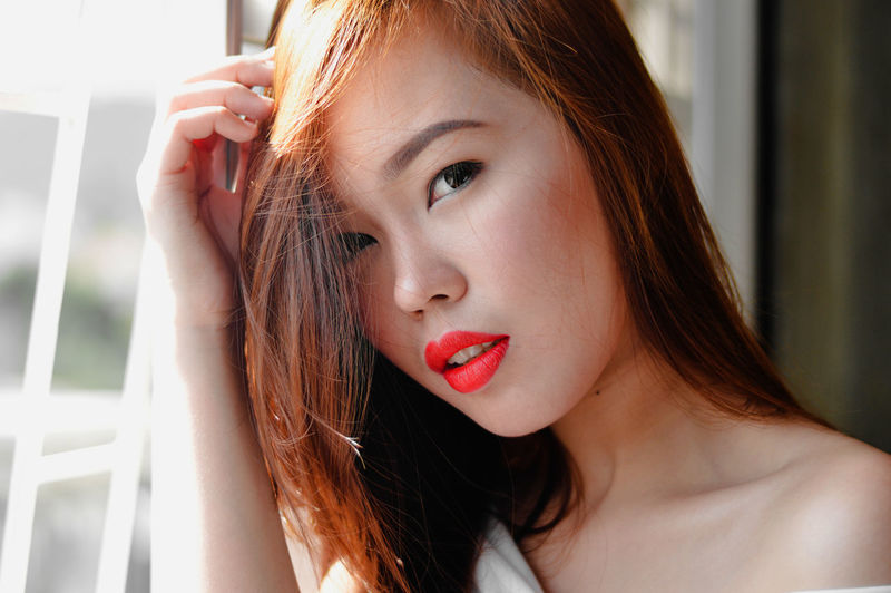 Looking Beauty Headshot Human Face Innocence Long Hair Make-up Person Red Lipstick Young Women