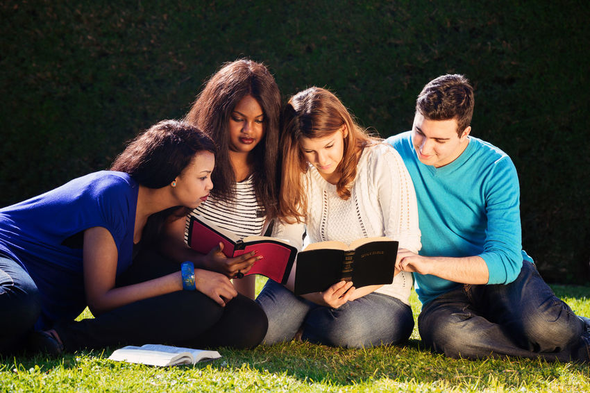 Friends Outdoor Bible Study Christian Christianity Discussion Family Friends Grass Nature Reading Siblings Spirituality Students Youth Bible Disciples Evangelism Gospel Interracial Mixed Race Religion Study Theology Togetherness Young Adult