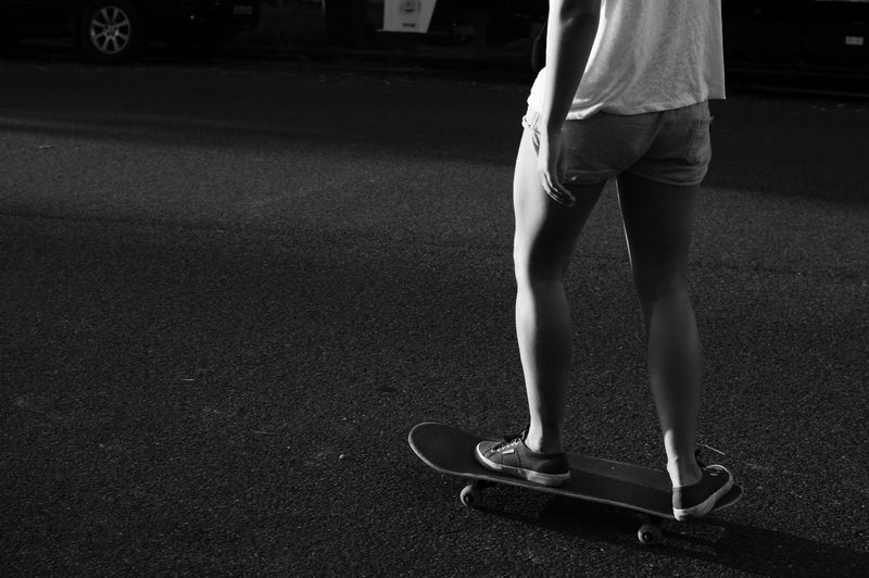 Skater girl Adult Black And White Human Body Part Human Leg Leisure Activity Lifestyles Light And Shadow Low Section One Person Real People Skateboarding Women Women Around The World Welcome To Black