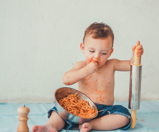 gus Food Eating Kidsphotography Boy Babyboy Water Sitting Shirtless Baby Prepared Food Served Ready-to-eat