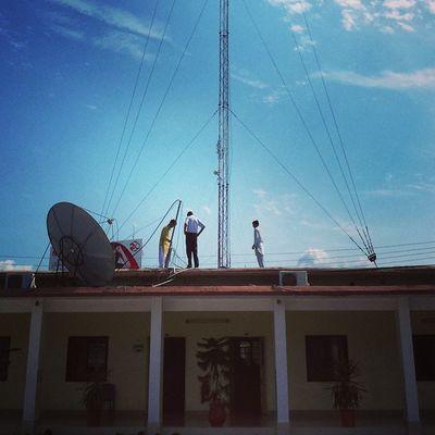Men on the top :p Comsats Comsatsatk Attock Wireless booster dish antenna university