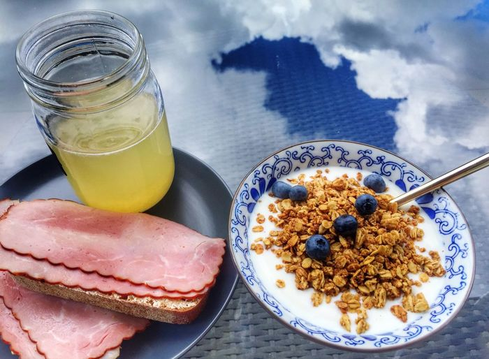 Happy birthday to myself. Breakfast Under A Blue Sky Under The Sky Clouds Blue Sky Granola Lemonade Sandwiches Blueberries Birthday My Birthday Enjoying A Meal Enjoying The Sun