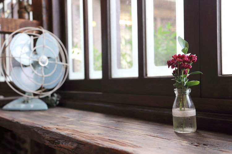 Flower vase and electric fan at desk against window