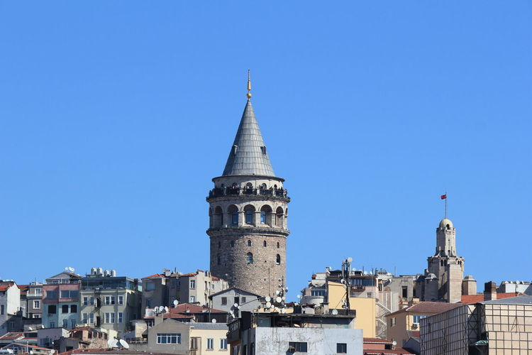 Architecture Bell Tower - Tower Blue Building Exterior Built Structure City Clear Sky Day High Section Istanbul Istanbul Turkey Low Angle View No People Outdoors Tall - High Tourism Travel Destinations