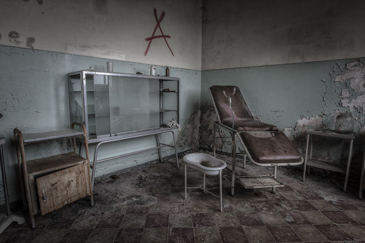 Interior of abandoned dentist office