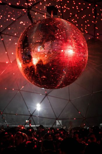 disco ball, red