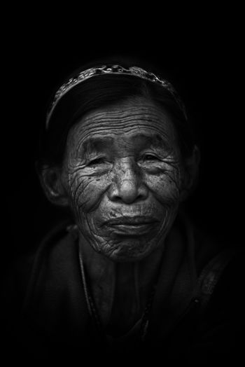 Black Background EyeEm Headshot Human Face Only Women Senior Adult Senior Women Smiling The Portraitist - 2017 EyeEm Awards Women Wrinkled