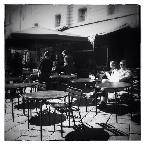 Coffee in Piazza del Campo, Siena, Italy IPhoneography Mobileart NEM Black&white