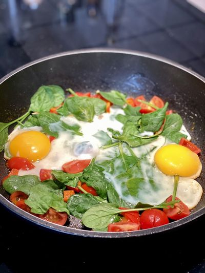 Close-up of fresh vegetables in pan
