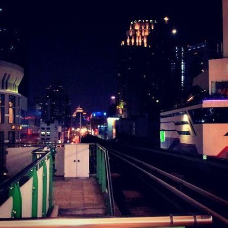 Bangkok Thailand Night Time Skytrain Flashing  Lights Trip Vacation