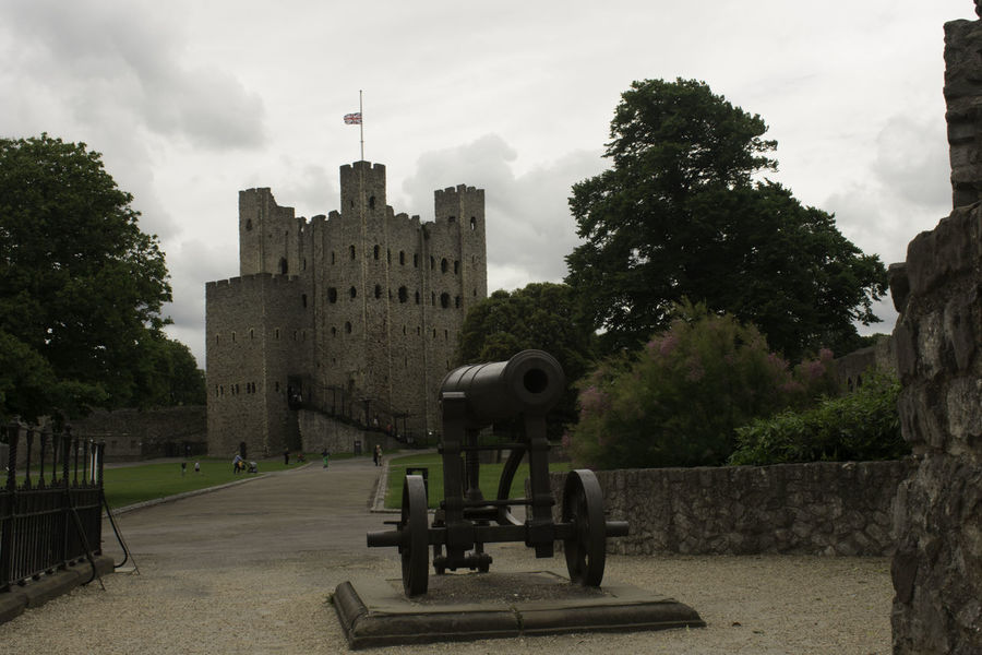 Architecture Building Exterior Built Structure Cannon Canon City Cloud - Sky Day Growth History Military Nature No People Outdoors Rochester Castle Sky Travel Destinations Tree Weapon