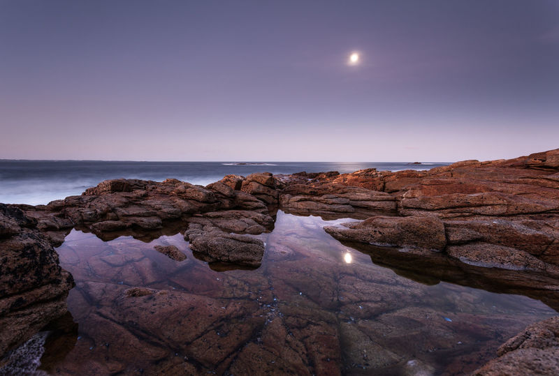 Nature Riflectionswater Beauty In Nature Clear Sky Horizon Horizon Over Water Landscape Long Exposure Moon Moonlight Nature No People Rock - Object Scenics Sea Seaside Sunrise Water Waves Waves, Ocean, Nature