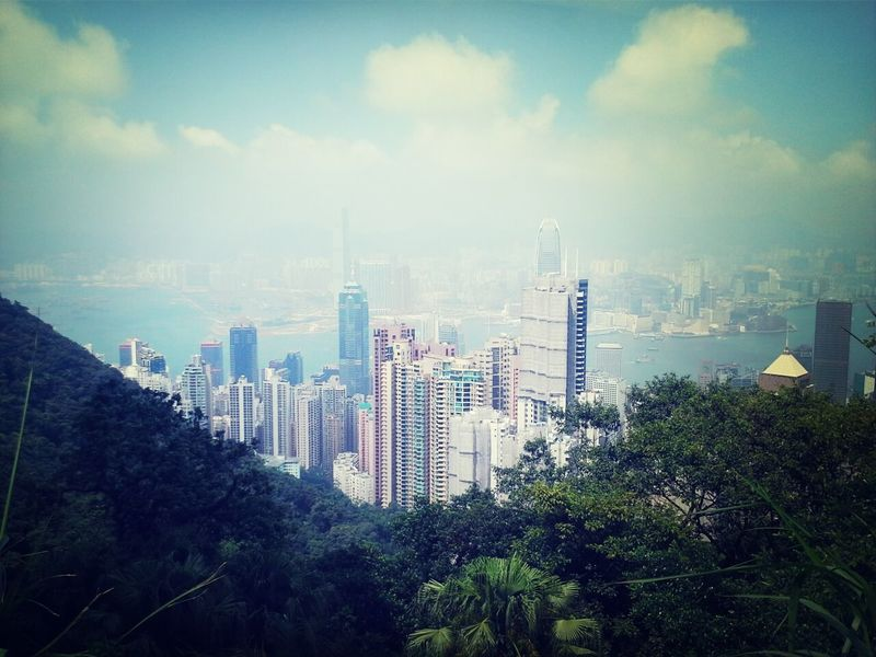 Where the city is surrounded by mountains. Peak Tram Hong Kong