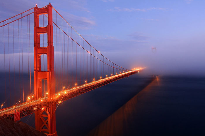 Golden Gate Bridge Sunset San Francisco California Water Reflections Light Streaks Learn & Shoot: Leading Lines Leading Lines Landscape Blue Hour Bkue Sky Horizontal Shining Seeing The Sights Landscapes With WhiteWall Been There. Lost In The Landscape
