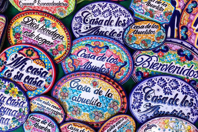 Full frame shot of multi colored souvenir