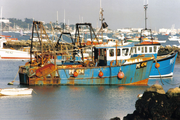 Blue Boat Commercial Dock Fishing Boats Harbor Nautical Vessel Ocean Old Poole Harbour Rust Sea Water Working At Sea