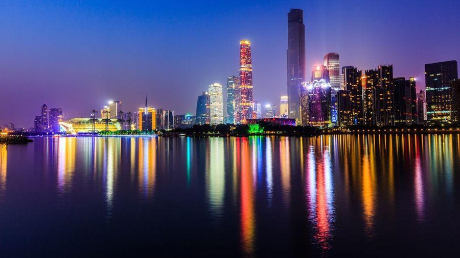 zhujiang Newtown guangzhou Architecture Building Guangzhou Canton Cityscape Popular Photos Sky Colour Night Lights Water Reflections re