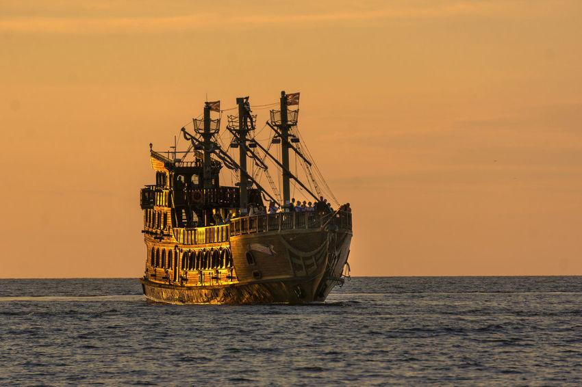 Baltic Sea Romantic Landscape Sailing Ship Traveling Nautical Vessel Romantic Sky Sea Sunset Water