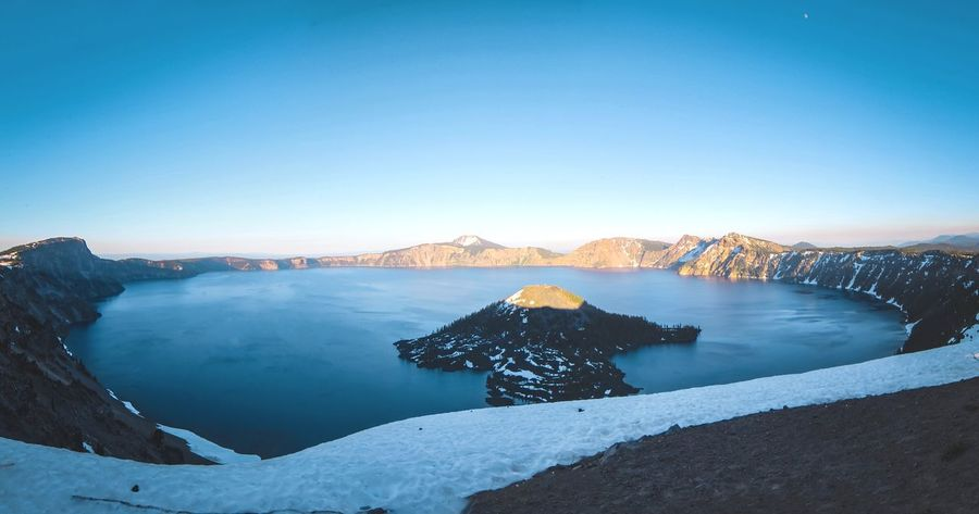Mountain Outdoors Travel Destinations Landscape Scenics Sunset Clear Sky Snow Sky Nature Blue No People Lake Day Water Cold Temperature Beauty In Nature Crater Lake Crater Lake National Park Oregon Deepest Lake In The US Deepest